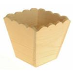 Cache pot en bois carré à bords ondulés 11 cm