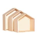 Etagères en bois forme de maison par 3