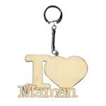 Porte-clés en bois I love Maman