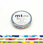 Rubans décoratifs adhésifs fins - Mosaïque multicolore - 0,3 mm - Set de 3
