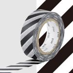 Masking Tape 1P Rayure noir 15 mm x 10 m