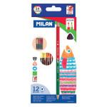 Crayon de couleur bicolore triangulaire 12 pcs